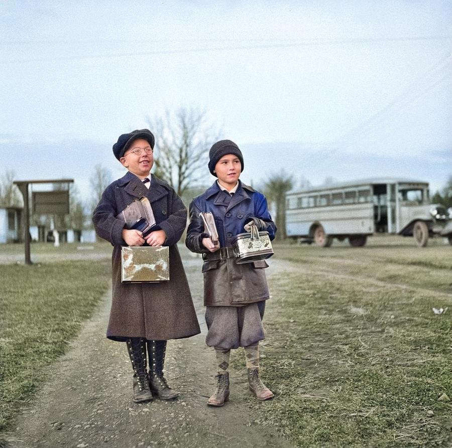 Children Coming Home From School. Hightstown, New Jersey Colorized By Ahmet Asar Painting