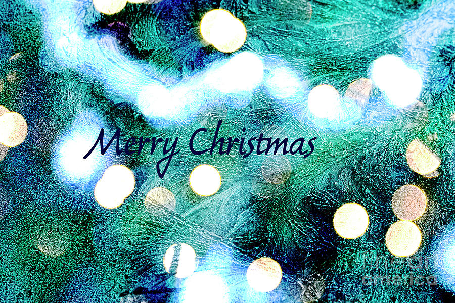 Merry Christmas in blue green by Patricia Hofmeester