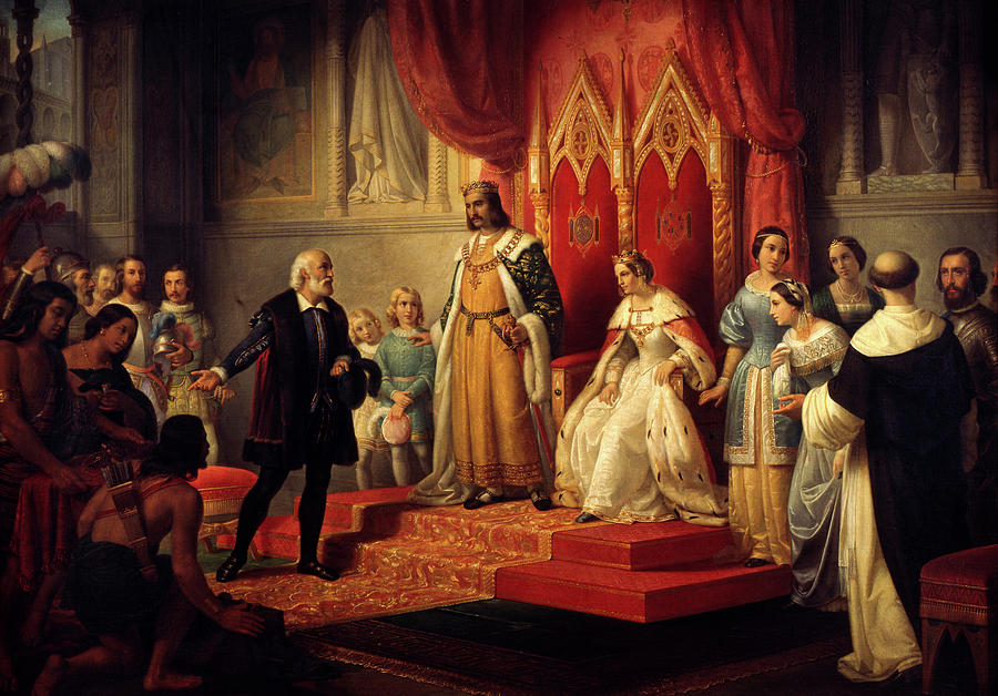 Painting Painting - Christopher Columbus At The Court Of The Catholic Monarchs by Juan Cordero