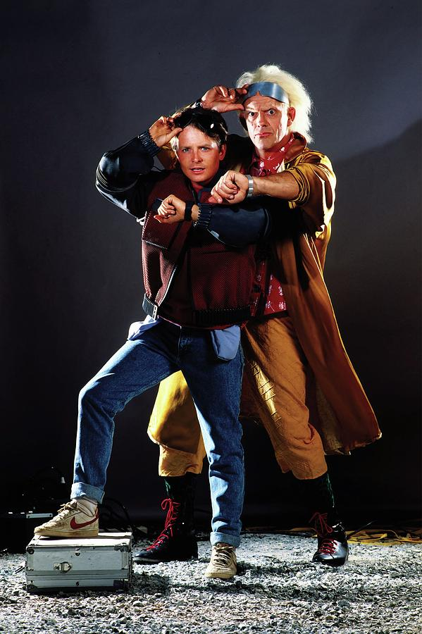 Christopher Lloyd And Michael J Fox In Back To The Future Part Ii 1989 Photograph By Album