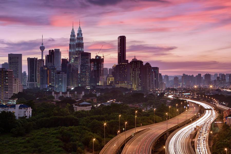 City Skyline - Kuala Lumpur At Dusk Photograph by Hadynyah