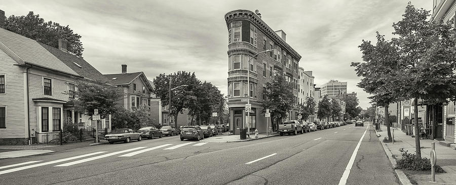 Horizontal Photograph - City Street With Parked Cars by Panoramic Images