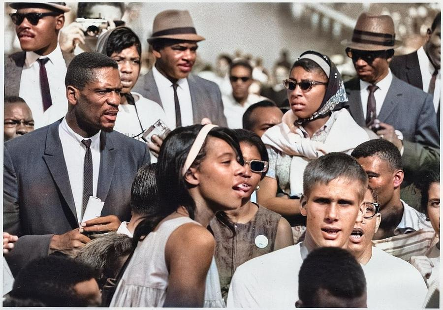 Civil Rights March On Washington, D.c.  Faces Of Marchers. Colorized By Ahmet Asar Painting