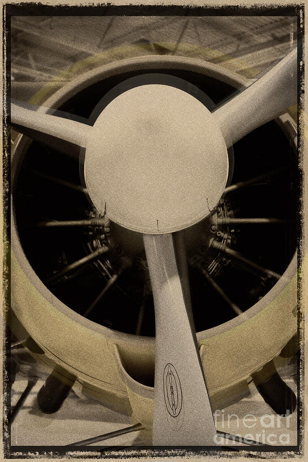 Close-up of a vintage rotary airplane engine.  by Doc Braham