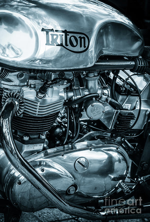Triton classic motorcycle engine and tank by Peter Noyce