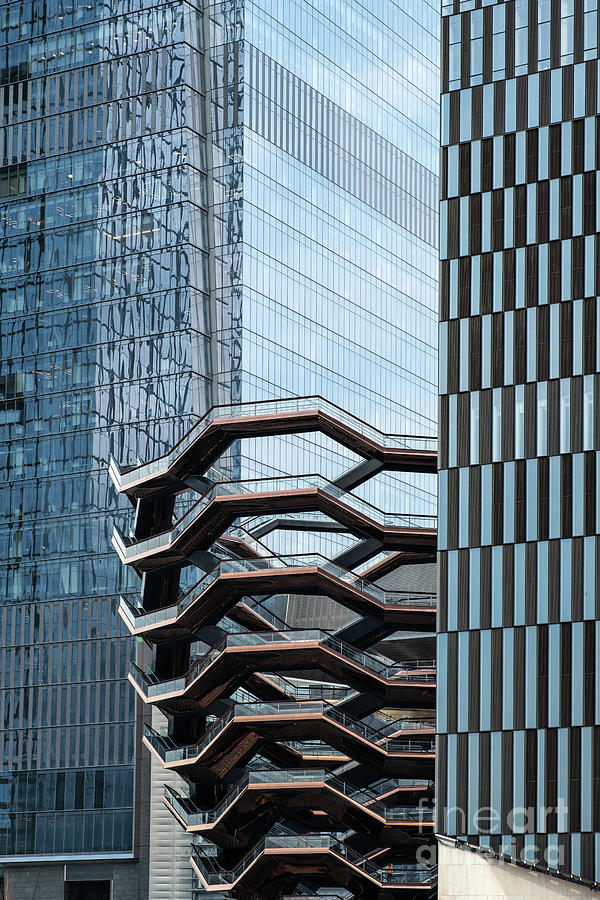 Close view of Vessel and skyscrapers of Hudson Yards in midtown  by Edi Chen