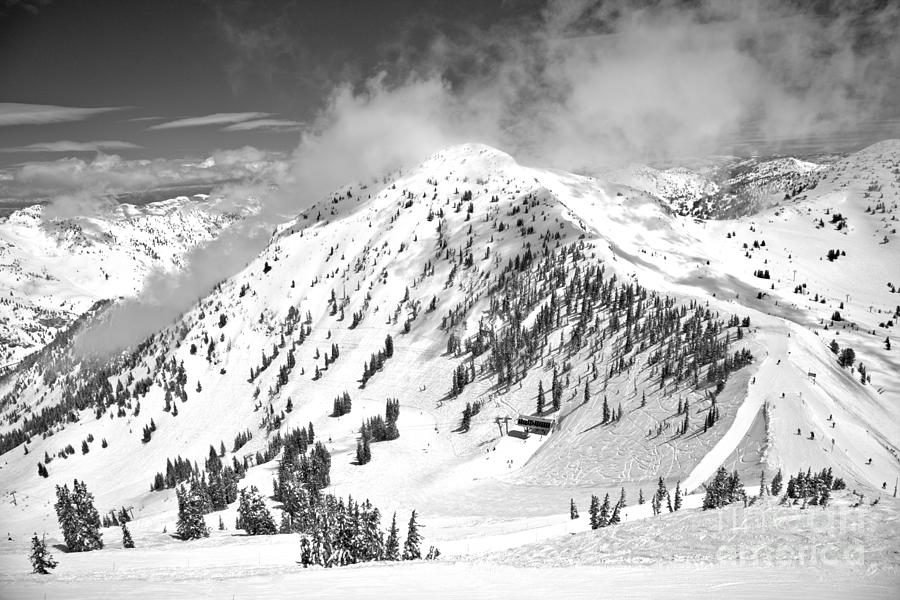Clouds Over Baldy Black And White by Adam Jewell