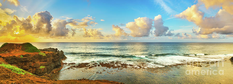 Beach Photograph - Coastal view at sunrise. Panorama by MotHaiBaPhoto Prints