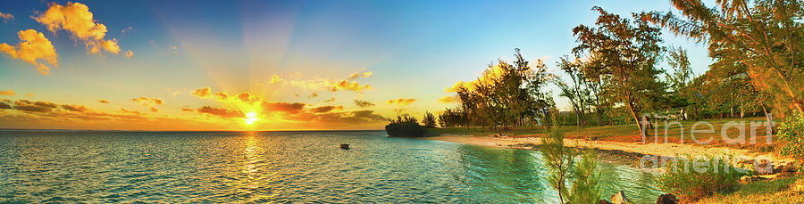 Beach Photograph - Coastal View At Sunset. Mauritius. Panorama by MotHaiBaPhoto Prints