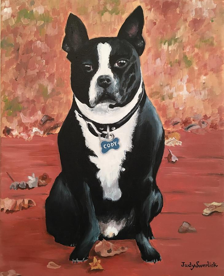 Pet Portrait Painting - Cody by Judy Swerlick
