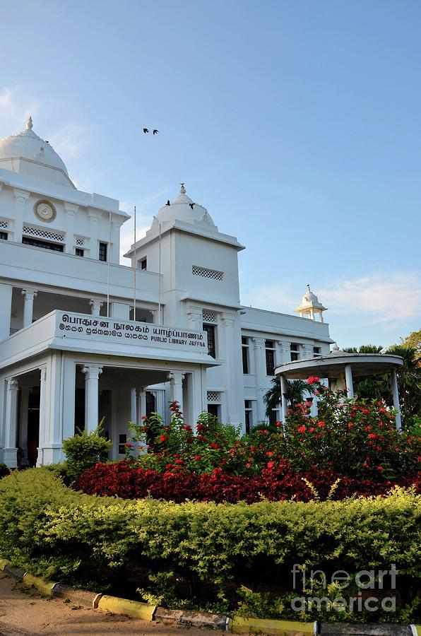 Colonial era rebuilt Jaffna Public Library landmark building for Tamils Jaffna Sri Lanka by Imran Ahmed