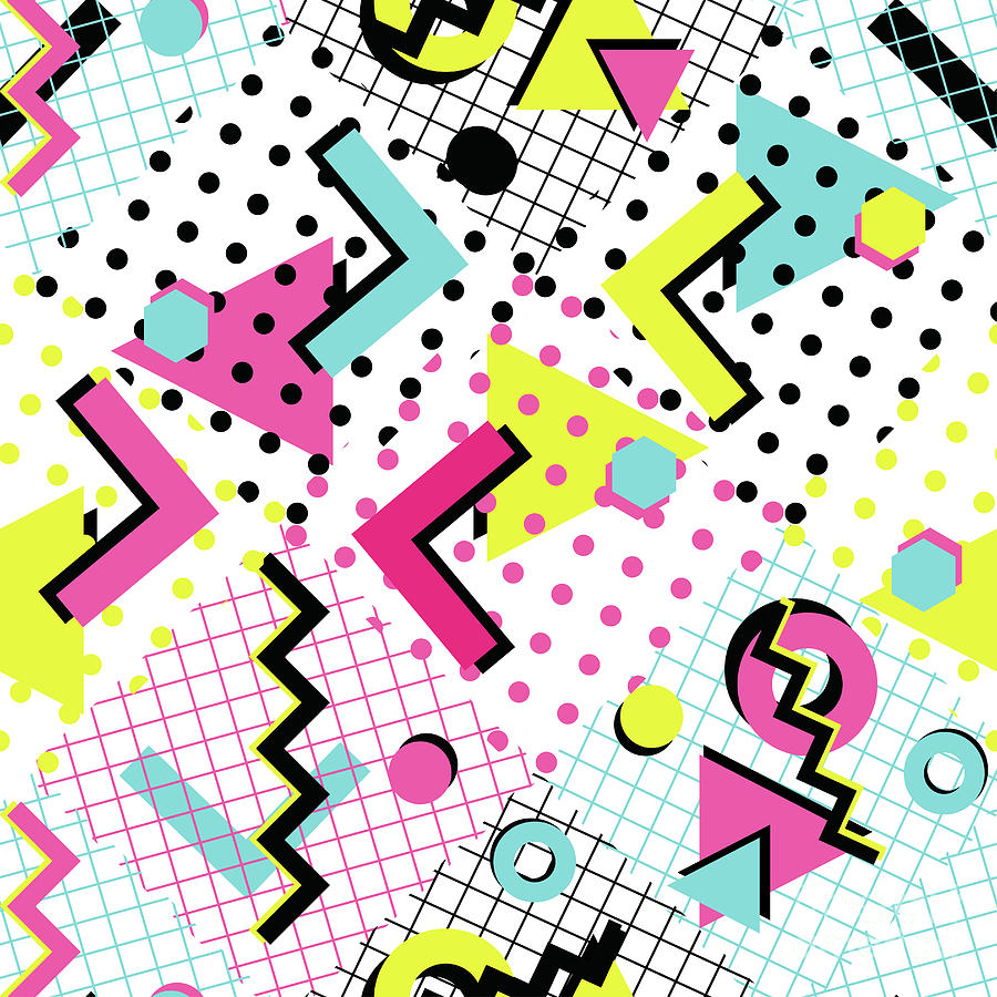 Colorful Abstract 80s Style Seamless Digital Art by Alex bond
