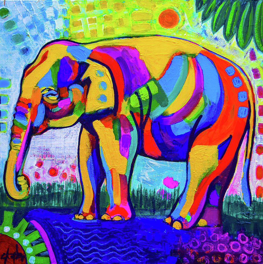- Colorful Elephant Painting By Stephen Humphries