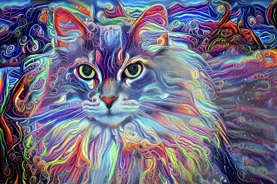Long Haired Cat Digital Art - Colorful Long Haired Cat Art by Peggy Collins