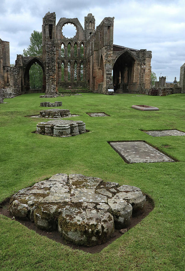 Column Remnants at Elgin Cathedral by Dave Mills