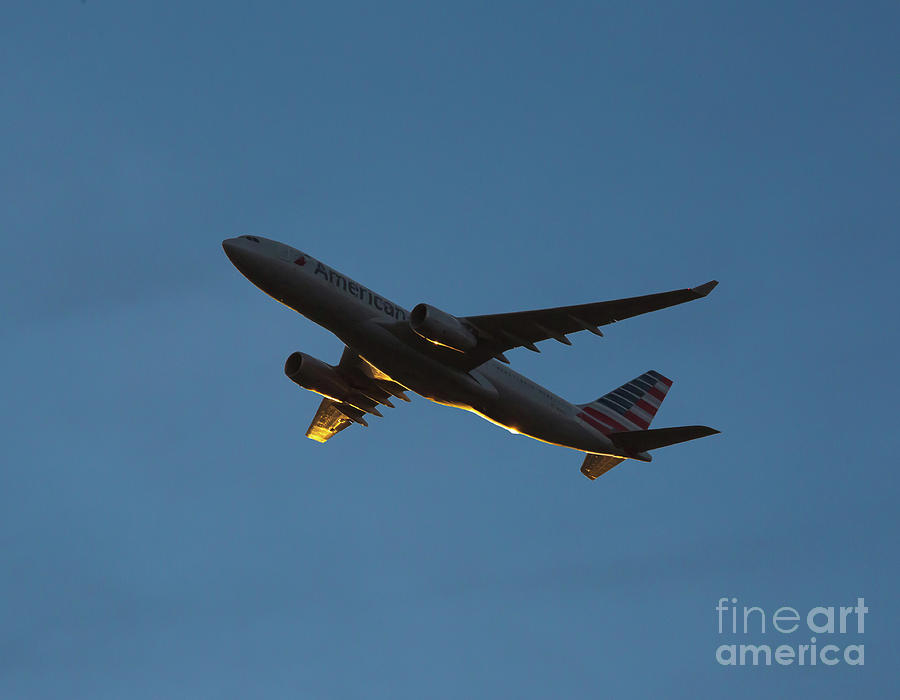 Commercial Jet at Sunset by Kevin McCarthy