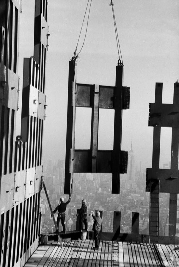 Construction Workers On The Top Floors Photograph by New York Daily News Archive