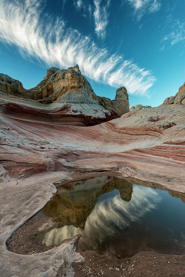 Arizona Photograph - Contrail, Pool Reflection And Sandstone by Howie Garber
