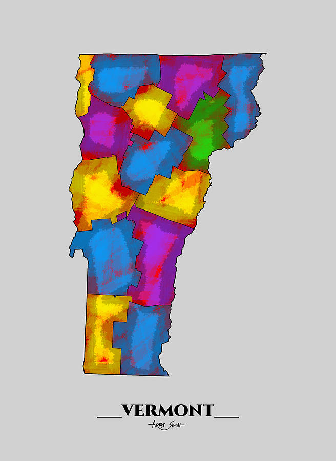 County Map Of Vermont, Artist Singh