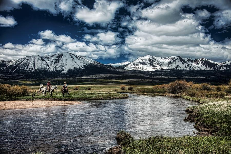 Cowboys Photograph - Cowboys Beside The North Platte River In Colorado by Mountain Dreams