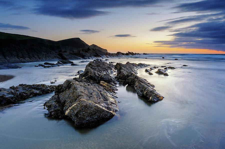 Crackington Haven Sunset, Cornwall Photograph by Chrishepburn
