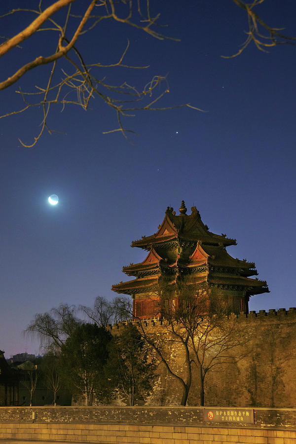 Crescent Moon Over Jiaolou Tower by Jeff Dai