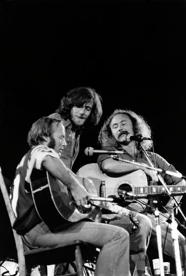 Music Photograph - Crosby, Stills, Nash & Young On Stage by Steve Morley