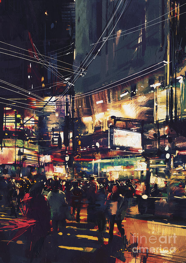 City Digital Art - Crowds Of People At A Busy Crossing by Tithi Luadthong