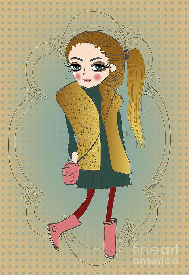 Play Digital Art - Cute Fashion Little Girl With Frame by Elena Barenbaum