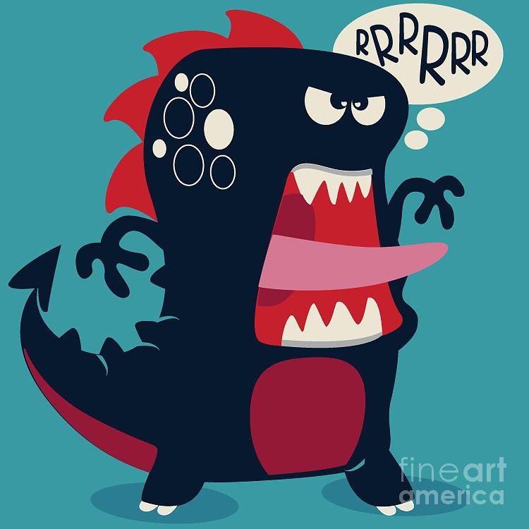 Symbol Digital Art - Cute Monster Vector 1 by Braingraph