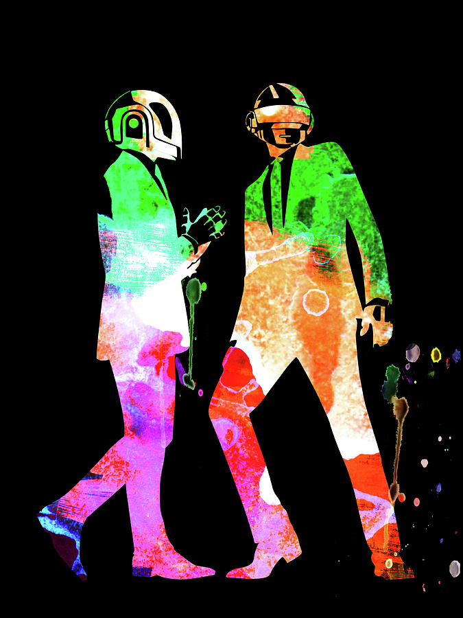 Daft Punk Mixed Media - Daft Punk Watercolor by Naxart Studio