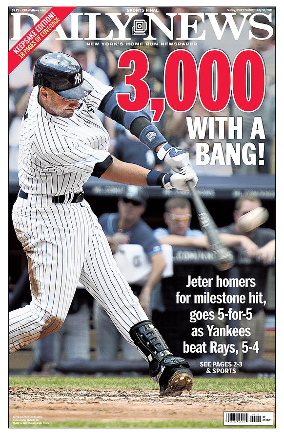 Daily News Front Page Derek Jeter Photograph by New York Daily News