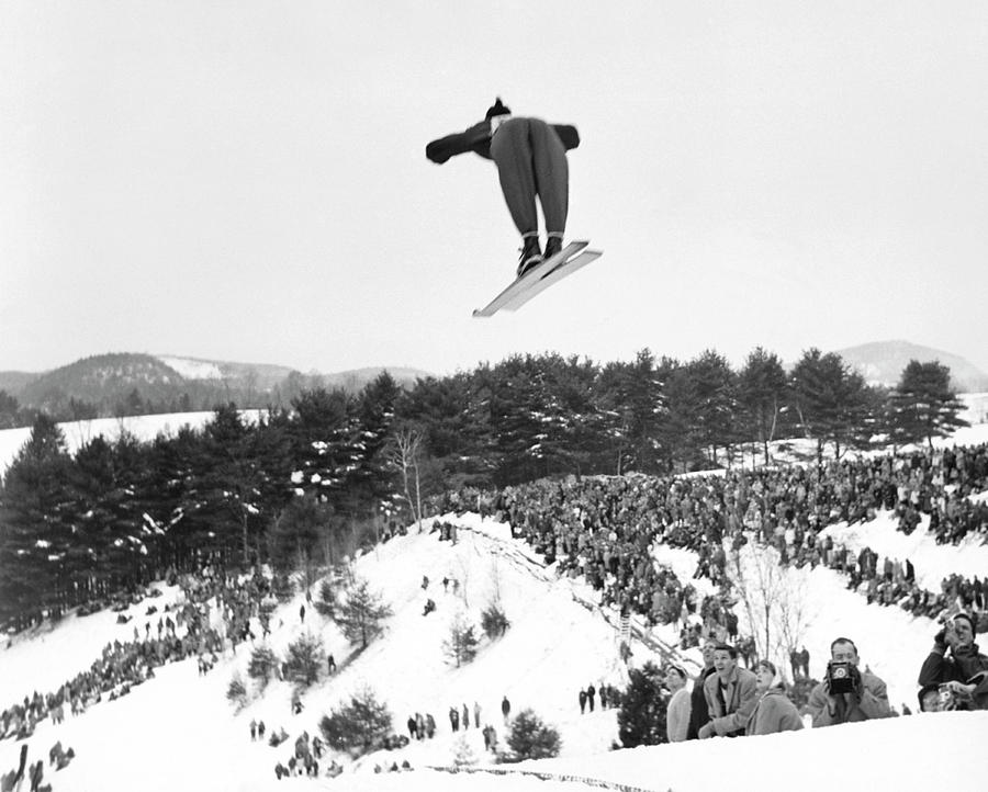 Dartmouth Carnival Ski Jumper Photograph by Underwood Archives