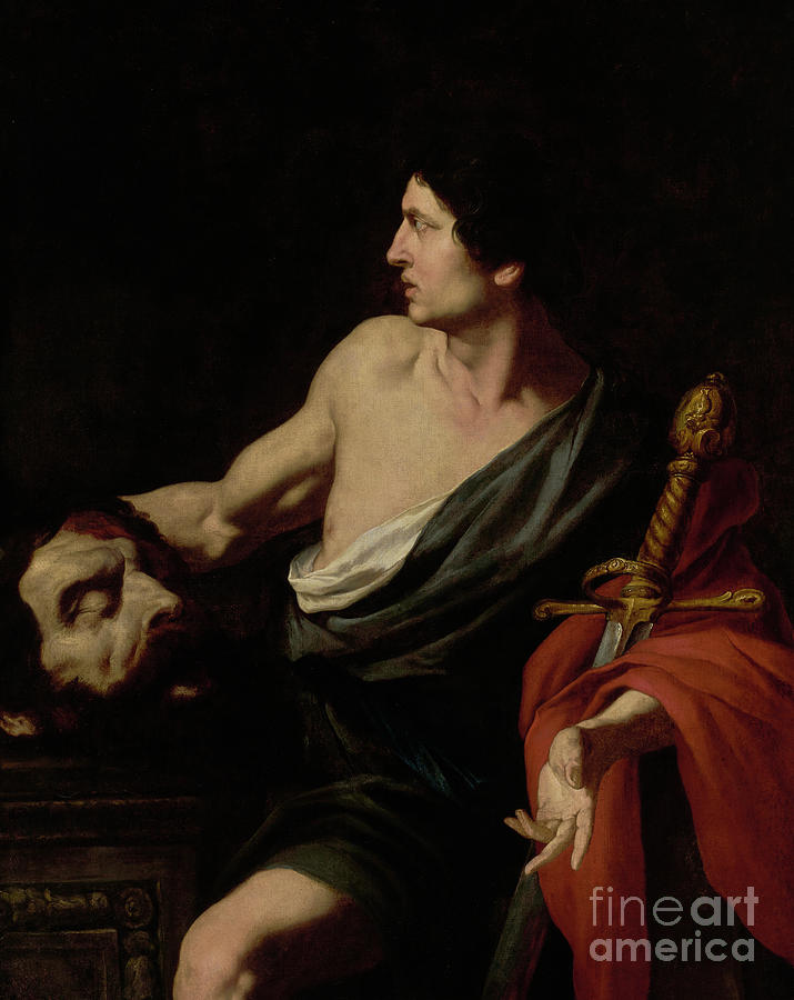 David Painting - David With The Head Of Goliath by Pietro Novelli