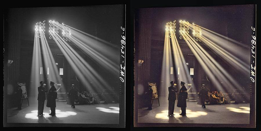 Delano, Jack, Photographer. Chicago, Illinois. In The Waiting Room Of The Union Station 1943 Coloriz Painting