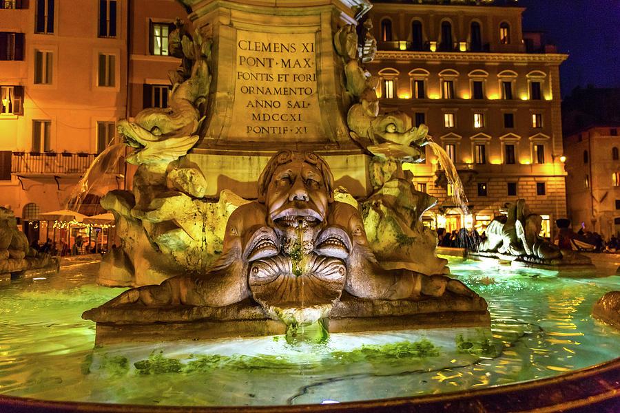 Ancient Photograph - Della Porta Fountain, Piazza Della by William Perry