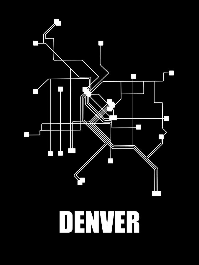 Denver Digital Art - Denver Black Subway Map by Naxart Studio
