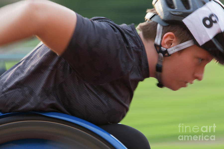 Ambition Photograph - Determined Paraplegic Athlete During Wheelchair Race 1 by Caia Image/science Photo Library