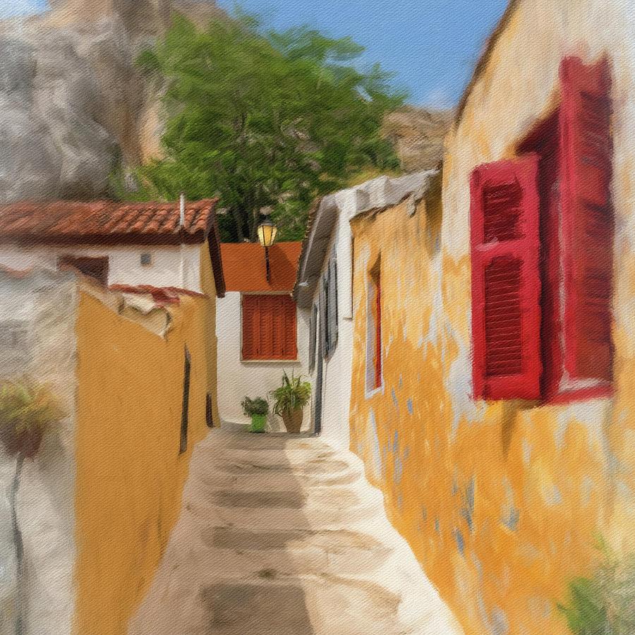 Digital oil painting of narrow street in district of Anafiotika  by Steven Heap
