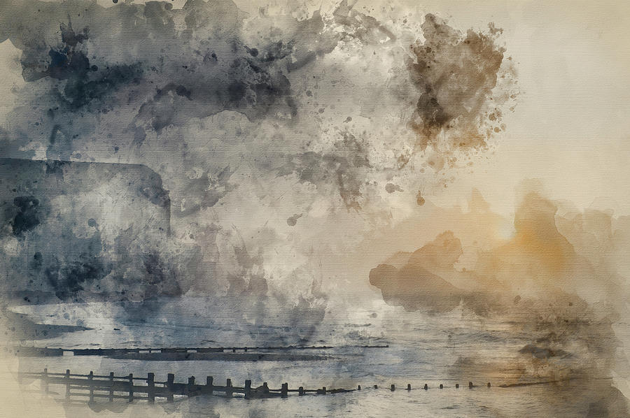 Landscape Photograph - Digital Watercolor Painting Of Beautiful Dramatic Foggy Winter S by Matthew Gibson