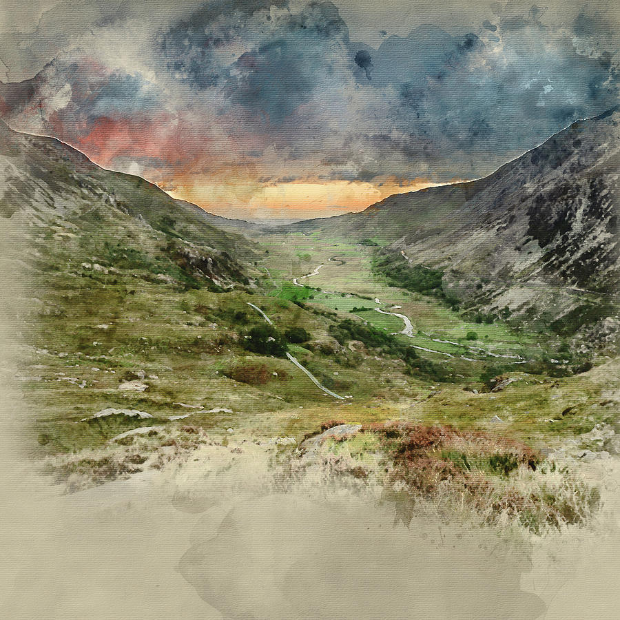 Landscape Photograph - Digital Watercolor Painting Of Beautiful Dramatic Landscape Imag by Matthew Gibson