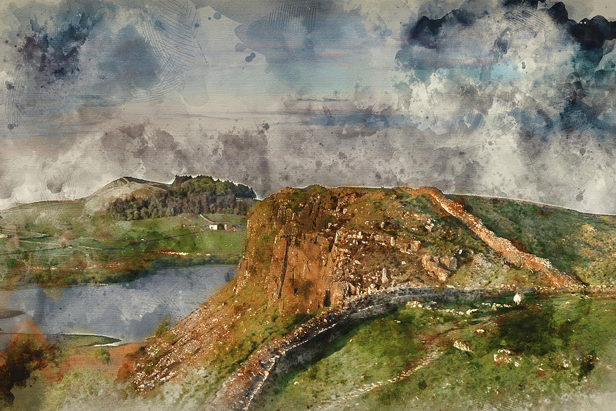 Northumberland Photograph - Digital Watercolor Painting Of Beautiful Landscape Image Of Hadr by Matthew Gibson