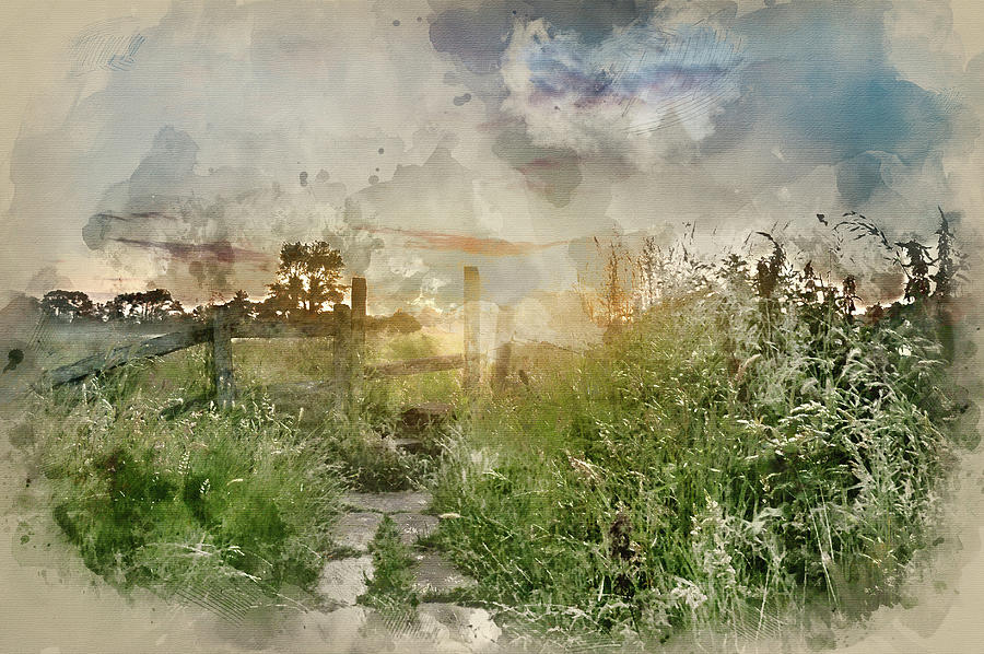 Landscape Photograph - Digital Watercolor Painting Of Beautiful Vibrant Summer Sunrise  by Matthew Gibson