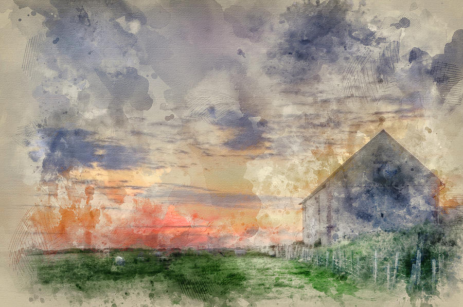 Sunset Photograph - Digital Watercolor Painting Of Old Barn In Landscape At Sunset by Matthew Gibson