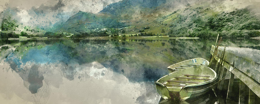Panorama Photograph - Digital Watercolor Painting Of Panorama Landscape Rowing Boats O by Matthew Gibson