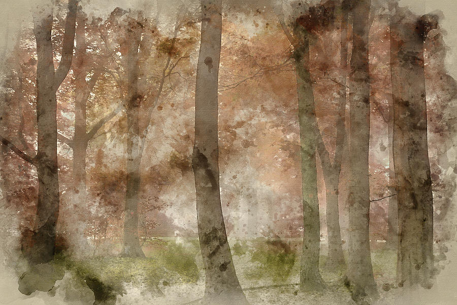 Landscape Photograph - Digital Watercolor Painting Of Stunning Colorful Moody Vibrant A by Matthew Gibson