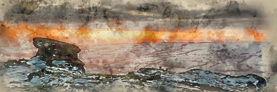 Landscape Photograph - Digital Watercolor Painting Of Stunning Winter Panoramic Landsca by Matthew Gibson