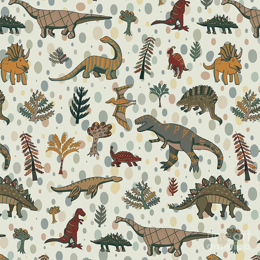 Pets Digital Art - Dinosaur Pattern by Goosefrol