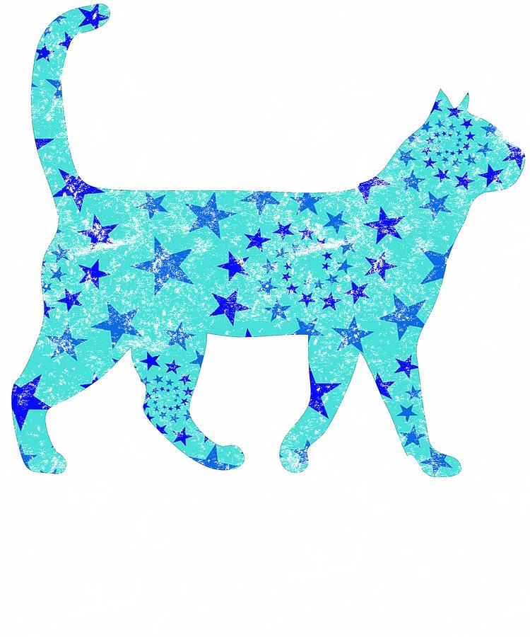 Distressed Blue Star Cat