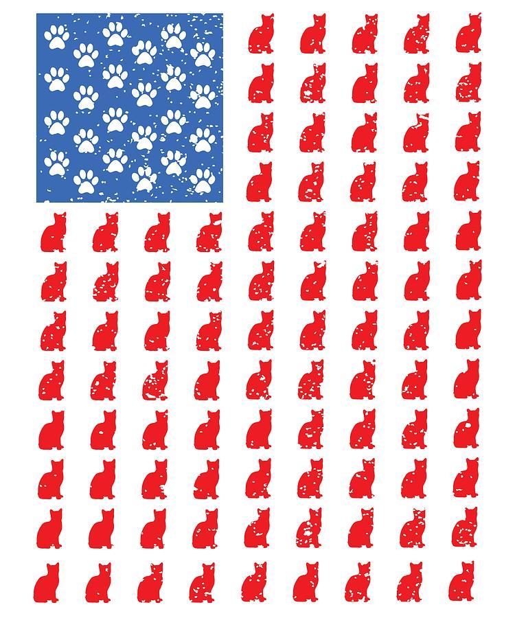 Distressed Patriotic Cat Shirt For Men Women And Kids
